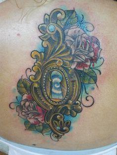 Alice in wonderland keyhole tattoo by Liz Reyes
