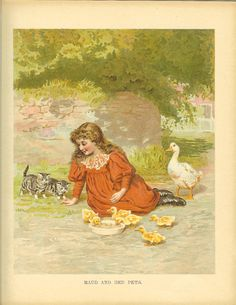 Edwardian 1900s Ernest Nister Children's Print Girl Long Curly Hair Red Dress Sits Watching Tabby Kittens Duck  Ducklings Antique Book Plate