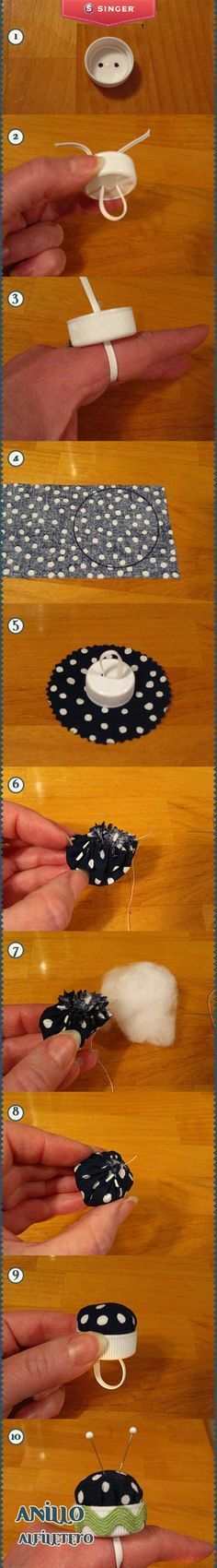DIY Bottle cap - ring/finger pin cushion - Anillo alfiletero #yolohice – Singer México