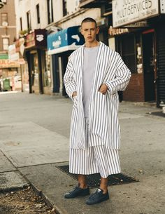 Oversized pyjamas stripes + Adidas Stan Smiths - 10 Men Magazine