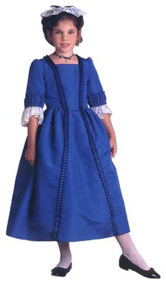 """colonial doll dresses Felicity's blue taffeta holiday Christmas gown with white lace stomacher. This Colonial dress costume was from """"Dress Like Your Doll"""" by American Girl. American Girl Outfits, American Girl Books, American Girls, American Girl Felicity, Blue Gown, Costume Dress, Cosplay Costumes, Matching Outfits, White Lace"""