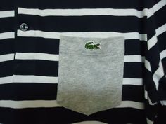 8cc74bc456 Men's LACOSTE Polo shirt striped Navy & White Size 5 M Regular fit fc10  sku145 #