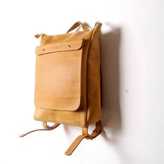 HandMade YELLOW LEATHER BACKPACK / Handcrafted leather