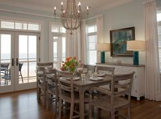 gray dining room with turquoise accents
