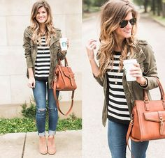 Striped sweater, jeans, army green military jacket
