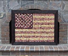 Wine Cork Decor!!!! Over 1,430 Wine Corks Used!!!! Wine Cork Art of American Flag!!!