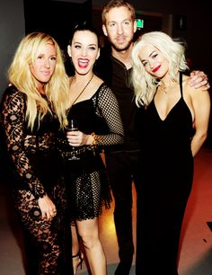 Mixing business and pleasure: Calvin Harris crashed a girls' night out at the 2013 MTV EMAs on Sunday by joining girlfriend Rita Ora and pals Katy Perry and Ellie Goulding for a well-deserved backstage drink Calvin Harris, Ellie Goulding, Rita Ora, Mtv, Taylor Swift And Calvin, Backstage, Katy Perry Photos, Love Her Style, Girls Night Out