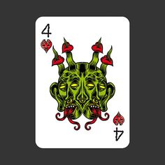 playing cards: 4 of hearts by Marco Tóxico