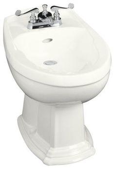 KOHLER K-4896-0 Portrait Bidet, Plumbed for Horizontal Spray Bidet Faucet in Whi - traditional - Toilets - PlumbingDepot.com