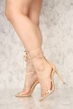 The featuring includes a bold color with a faux suede fabric, wrap around lace up tie, clear vamp strap, cushion foot-bed followed by a smooth finished touch. Approximately 4 inch heel. Clear Strap Heels, Clear High Heels, Hot High Heels, Womens High Heels, Sexy Legs And Heels, Lace Up Heels, Strappy Heels, Stiletto Heels, Beautiful Heels