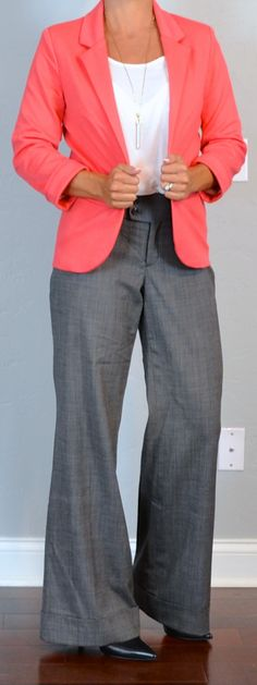Outfit Posts: outfit post: coral jacket, grey wide-leg pants, pointed toe black pumps