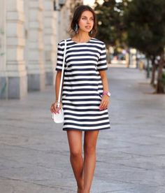 9f5288ab38a21 Stylish Casual Stripe Short Sleeve Mini Dress Short Sleeve Dresses