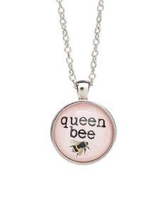 Look what I found on #zulily! Silvertone & Pink 'Queen Bee' Necklace #zulilyfinds