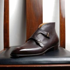 Bespoke Plain vamp double monk strap boot #yoheifukuda #bespoke #monk #strap #boots #chocolate #brown #leather #men #fashion #style #photo #tokyo #japan