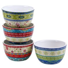 Certified International Anabelle 5.25-inch Ice Cream Bowls (Set of 4) Assorted Designs
