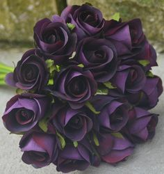 Silk Wedding Bouquet Artificial Weddings Posy Roses Eggplant Purple Flower Rose | eBay
