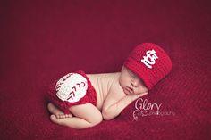 Baby Boy team baseball cap and diaper cover newborn by LandyKnits, $40.00