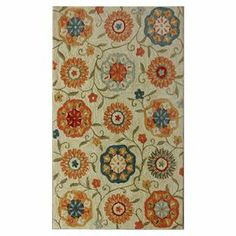 """Hand-tufted rug with a multicolor floral motif.    Product: RugConstruction Material: PolyesterColor: Ivory and multiFeatures: Hand-tuftedDimensions: 7'6"""" x 9'6""""Note: Please be aware that actual colors may vary from those shown on your screen. Accent rugs may also not show the entire pattern that the corresponding area rugs have.Cleaning and Care: Spot treat with a mild detergent and water.  Professional cleaning is recommended if necessary."""