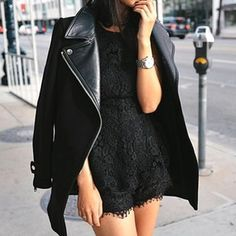 ..black lace dress with black leather jacket, edgy