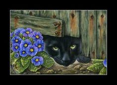 Black-Cat-ACEO-Sneak-Inside-Print-by-I-Garmashova