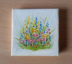 Tiny Yellow and Pink Flowers Acrylic Painting on Canvas, Miniature Painting, Original Artwork, Fine Small Canvas Paintings, Small Canvas Art, Mini Canvas Art, Mini Paintings, Your Paintings, Blue Bell Flowers, Pink Flowers, Acrylic Colors, Acrylic Painting Canvas