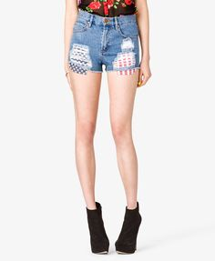 $15, Blue Denim Shorts: Forever 21 Americana Denim Cut Offs. Sold by Forever 21. Click for more info: https://lookastic.com/women/shop_items/19191/redirect