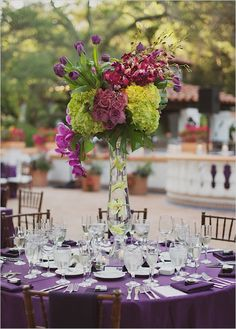 Rancho Los Lomas Eggplant And Chartreuse Wedding Chartreuse Wedding, Purple Wedding, Floral Wedding, Fall Wedding, Our Wedding, Wedding Flowers, Dream Wedding, Wedding Colors, Floral Centerpieces