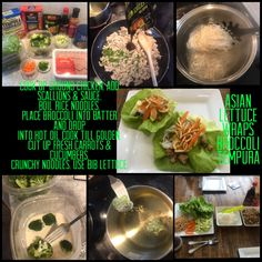 Cook up ground chicken. Add scallions & sauce. Boil rice noodles. Place broccoli into batter and drop into hot oil cook till golden. Cut up fresh carrots & cucumbers. Crunchy noodles. Use bib lettuce.