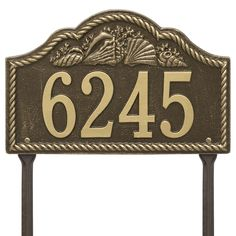 Personalized Rope Shell Arched Nautical Lawn Address Plaque - One Line Available now at the best price only at www.everythingnautical.com  #Nautical #Home #Decor #Gifts
