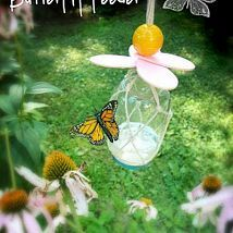 Encourage butterflies to visit your yard and pollinate your plants by making a butterfly feeder.