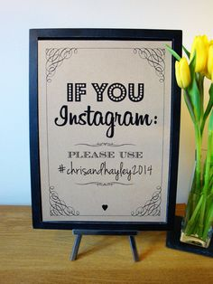 Use as reference to make my own:  Instagram Wedding Sign    (scrap book canvas colored paper)  $7.25