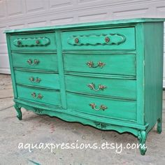 French Provincial Dresser/  Sea Grass Blue/ Bright Buffet/ Bedroom Furniture/ Distressed /Vintage  TV Stand/ Storage/ Dining Room Furniture. $399.00, via Etsy.