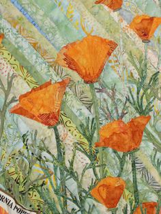 """close up, California poppy quilt on a strip-pieced background:  """"So She Sows and Sews"""" by Jan Scrutton (California).  State Park tribute."""