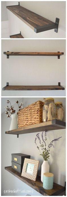Rustic DIY Floating Shelves with IKEA Ekby Brackets.