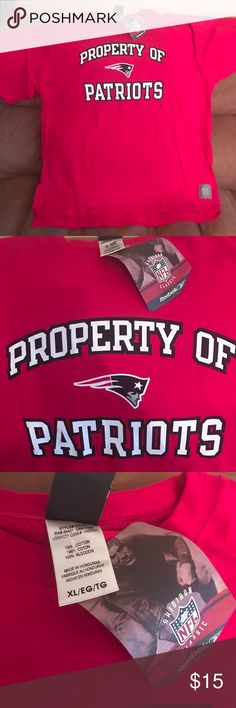 PATRIOTS Red tee shirt SizeXL New England PATRIOTS short sleeve men's tee shirt. Can also be for women too!!!  Brand new, with tags attached. Excellent condition Reebok Shirts Tees - Short Sleeve