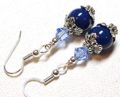 Earrings Cobalt Blue Swarovski Crystal Pearls Vintage Style Swarovski Austrian Sapphire Crystals Antiqued Silver Plate  FREE SHIPPING. $6.95, via Etsy.