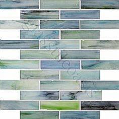 "Aqua 1"" x 4"" Aqua Pool Frosted Glass Tile"
