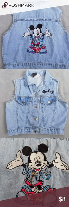 Disney Denim Mickey Vest Used but in good condition. No stain or holes just a little bit faded. See pictures. Pit to pit is approximately 17 inches and 18 inches top to bottom. Cute vest with embroidered Mickey  at the back . Embroidery has some loose stitches but not much. Please see close up photo. No front pockets. Buttons have Mickey on it. Price is firm. Bundle to save. Disney Jackets & Coats Vests