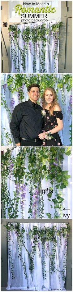 Create a simple Romantic Summer Photo Backdrop for a prom, wedding or party. You can put this photobooth together without nails or hooks. Romantic Bathrooms, Outdoor Bathrooms, Amazing Bathrooms, Wedding Themes, Our Wedding, Samantha Wedding, Themes Photo, Diy Party, Party Ideas