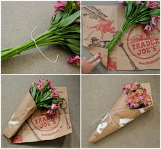 Ways to Reuse & Repurpose Paper Grocery Bags Wrap Flowers In Paper, How To Wrap Flowers, Diy Flowers, Mason Jar Crafts, Mason Jar Diy, Paper Grocery Bags, Flower Packaging, Flower Holder, Bouquet Holder