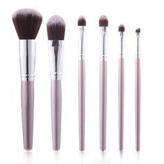 6pcs Luckyfine suave Maquillaje Cepillos Conjunto de la Fundación Blend Lips Liner sombra de ojos en polvo Cosméticos herramienta
