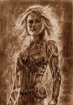 Brie Larson as Carol Danvers aka Captain Marvel from the Marvel Cinematic Universe. Freehand sketch using HB pencil and eraser on sketch paper. Darkened and tinted digitally. Comic Book Heroes, Comic Books, Sketch Paper, Brie Larson, Marvel Cinematic Universe, Captain Marvel, A4, Game Of Thrones Characters, Pencil