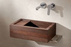 Model shown: Wenge. Size: 440x 265x 145 mm (lxdxh) Delivery time: standard sizes wooden sinks 3-10 weeks after order. Model #NicolaesMaes is specially designed for in the toilet. The depth of the sink is made for preventing splashing water to come over the edge. Follow us on Twitter @VWDutchDesign. Open Bathroom Vanity, Floating Bathroom Vanities, Small Bathroom Sinks, Bathroom Vanity Cabinets, Ikea Bathroom, Bathroom Colors, Bathroom Storage, Cheap Baths, Cheap Bathrooms