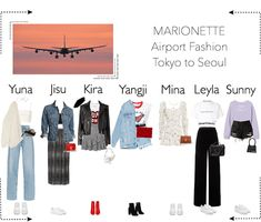 A fashion look for the Airport from September 2019 by Marionette-Official. Discover outfit ideas for made with the shoplook outfit maker. How to wear ideas for Cute Borders and arrow Kpop Fashion Outfits, Stage Outfits, Airport Style, Airport Outfits, Concert Outfits, Airport Fashion, Law School Fashion, Casual Trends, Summer Outfits