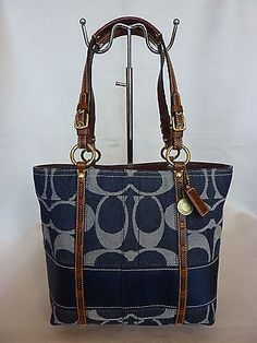 d9baa058ad Mint coach signature blue jean navy denim bag tote purse legacy stripe 11179