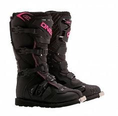 O'Neal-MX Rider Motocross/Offroad Womens 4-Buckle Closure Boots,Black/Pink,US-9