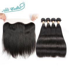 144.55$  Buy now - http://ali3n9.worldwells.pw/go.php?t=32725189392 - Ali Grace Hair Brazilian Straight Hair With Frontal Closure 4 PCS Straight Hair With Closure Lace Frontal Closure With Bundles