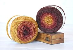 Hand Dyed Yarn -100% Wool Color Maple Ombre  by CraftyWoolFelt