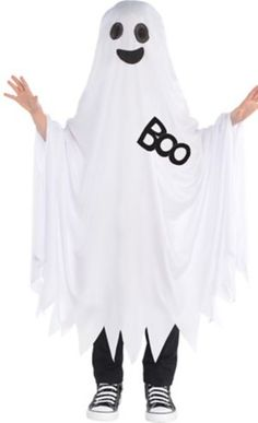 Who knew ghosts could be so cute? The Boo Ghost Costume for kids has a black printed u0027Boou0027 a printed face and black mesh over the eyes.  sc 1 st  Pinterest & how to make a ghost costume | Homemade Ghost Costume Ideas ...