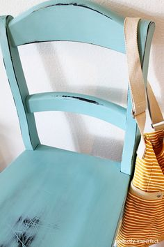 Annie Sloan's Provence paint over black bar stool and clear wax